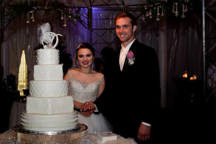 Candace Laird with Wedding Cake