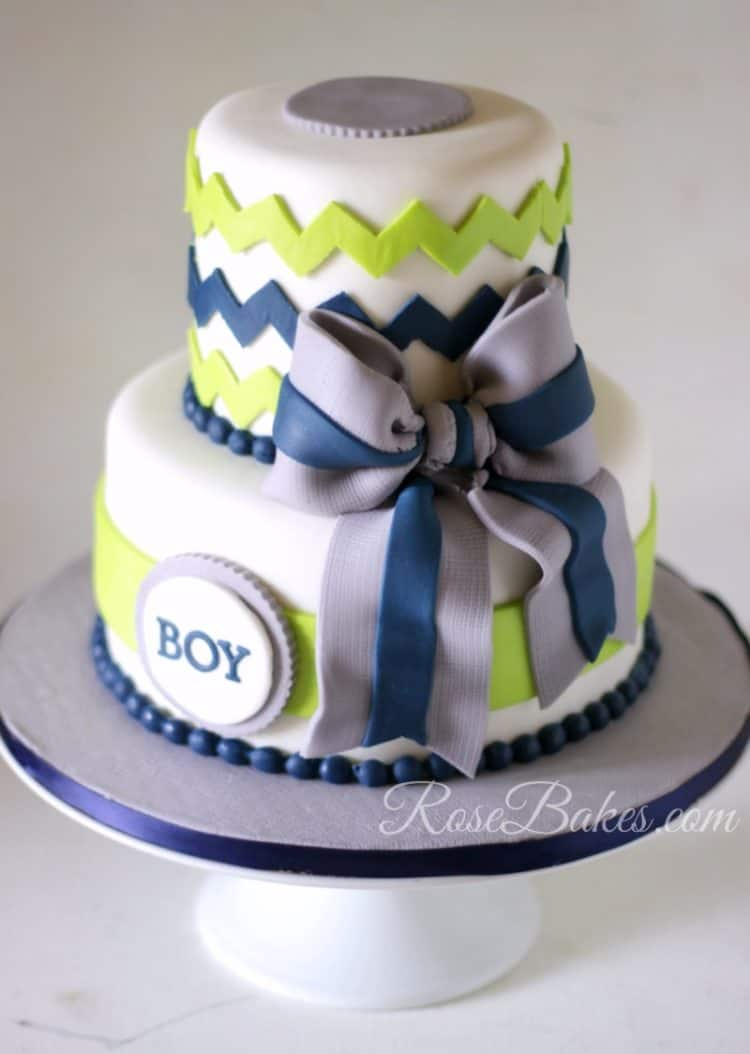 Chevron Navy Lime Green Gray Baby Shower Cake Sm