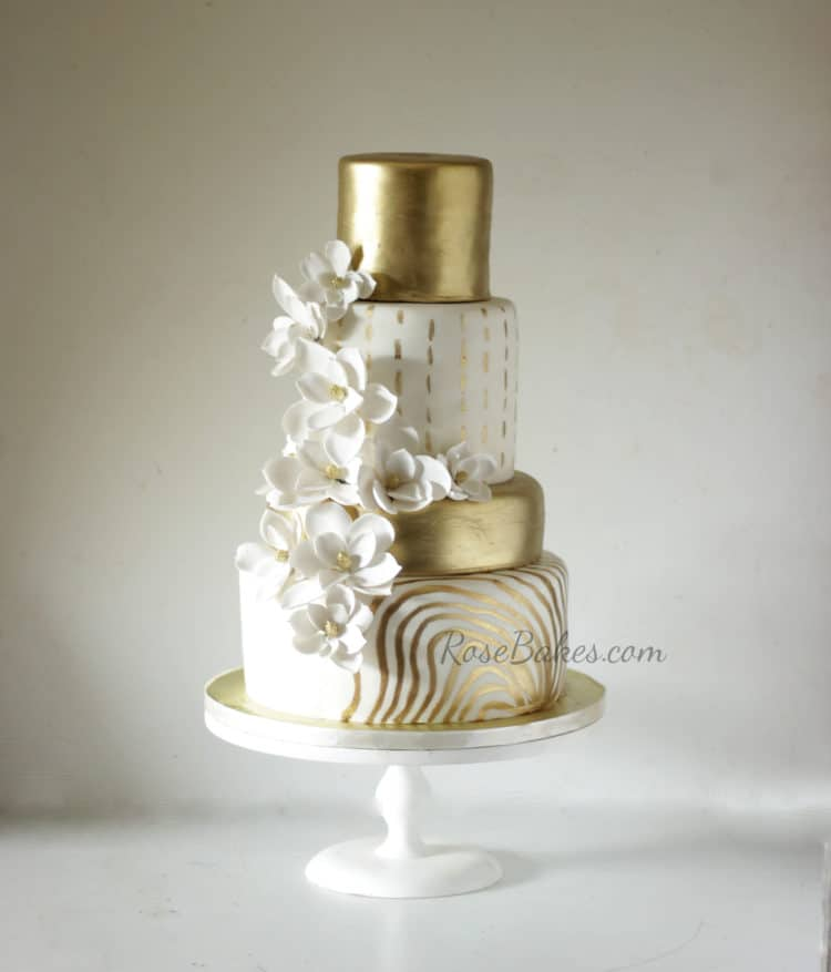 Gold And White Wedding Cake Designs