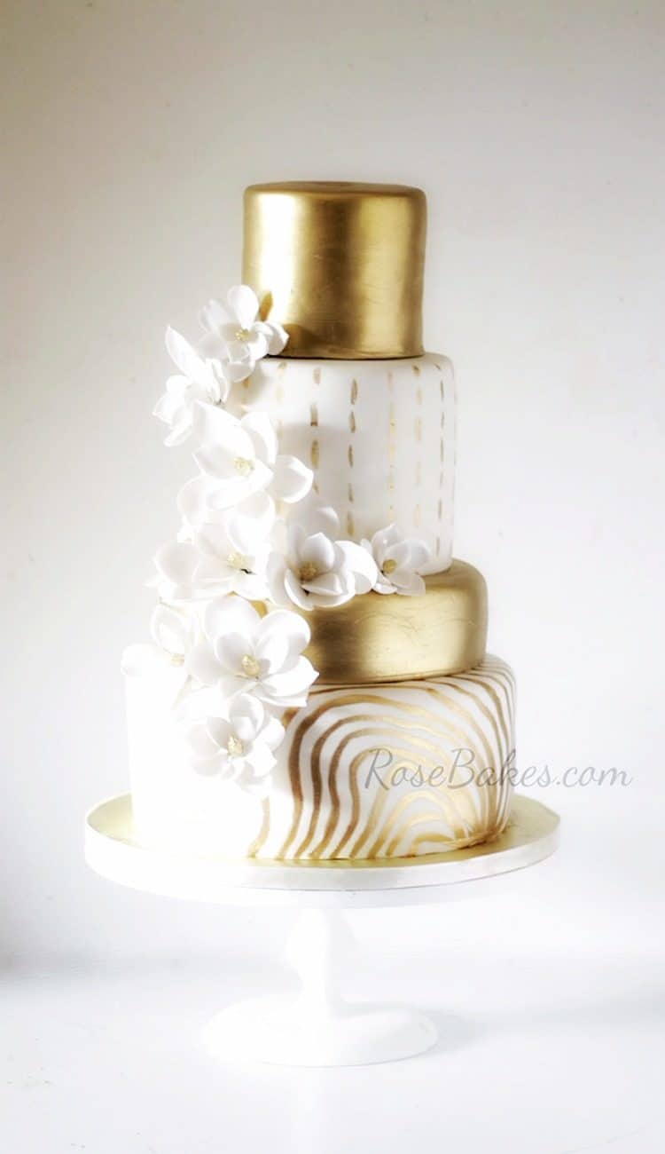 Check out these Trendy Gold Cakes! - Rose Bakes