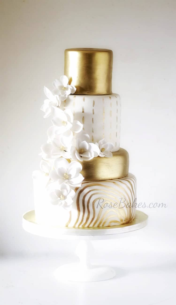 Gold & White Magnolia Anniversary Cake by Rose Bakes