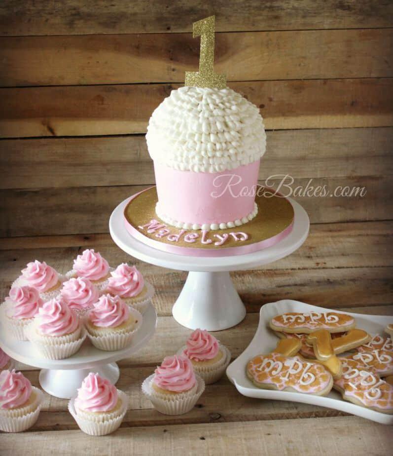 Pink & Gold Cupcake Cake Cookies Cupcakes