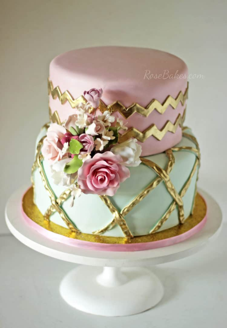 Pink Mint & Gold Shabby Chic Cake