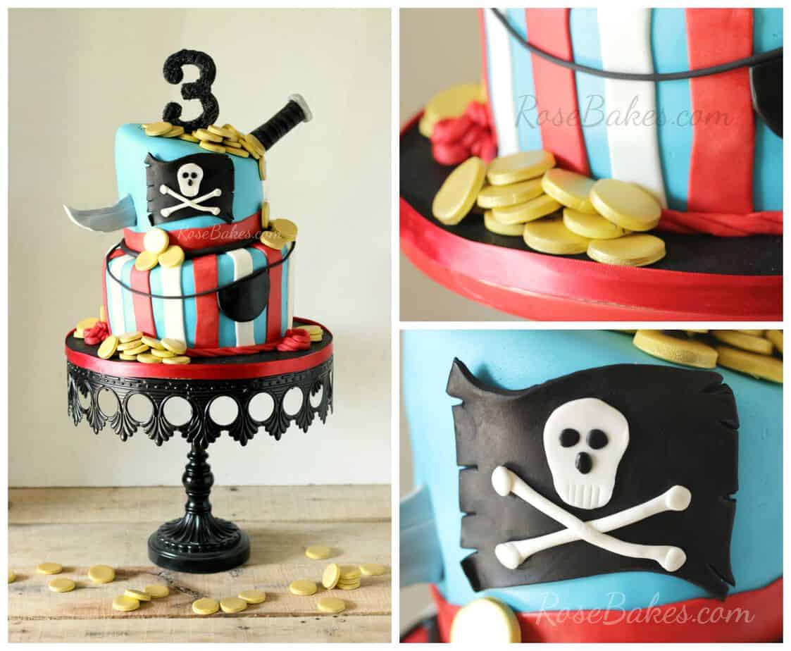 Pirate Cake with Knife and Gold Coins