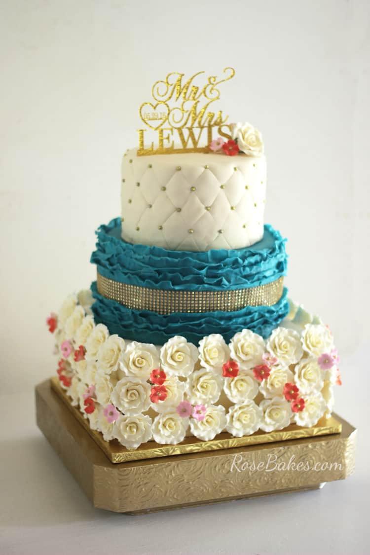 Teal & Coral Wedding Cake