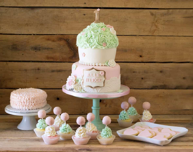 Vintage Cupcake Party Cake