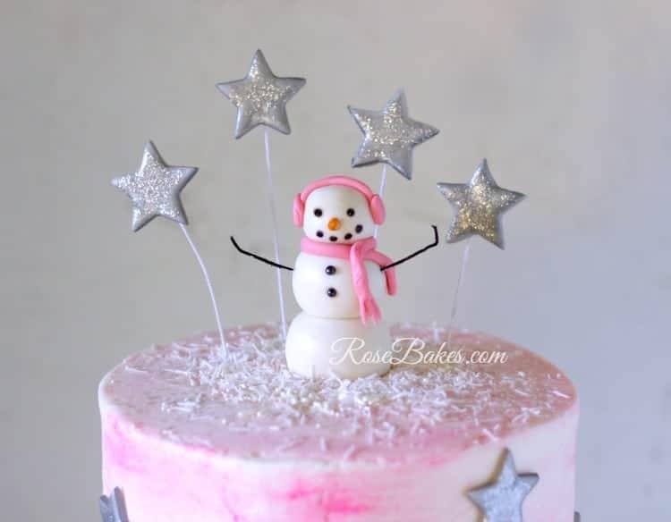 fondant-snowman-and-stars-cake-topper