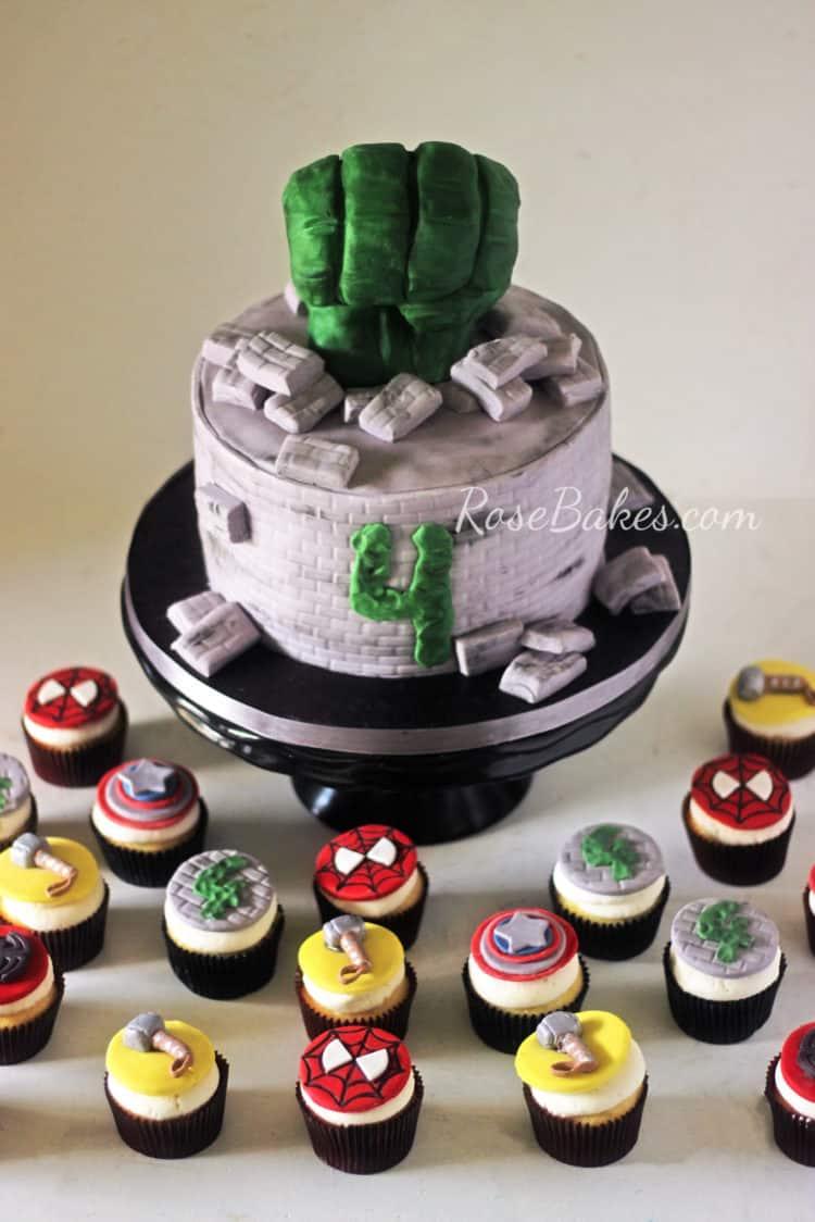 Hulk Cake and Avengers Cupcakes