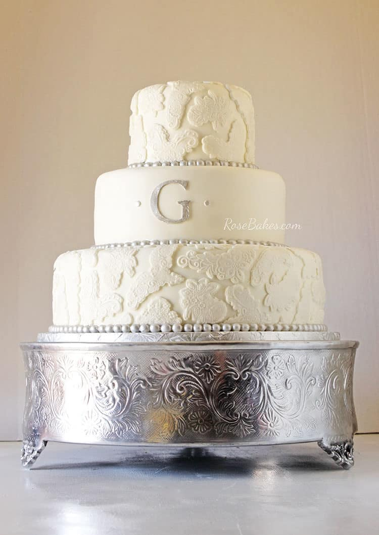Silver Lace Wedding Cake + Construction Dump Truck Groom\'s Cake ...