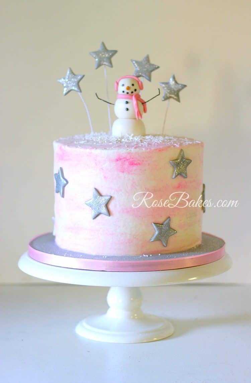 pink-snowman-stars-cake