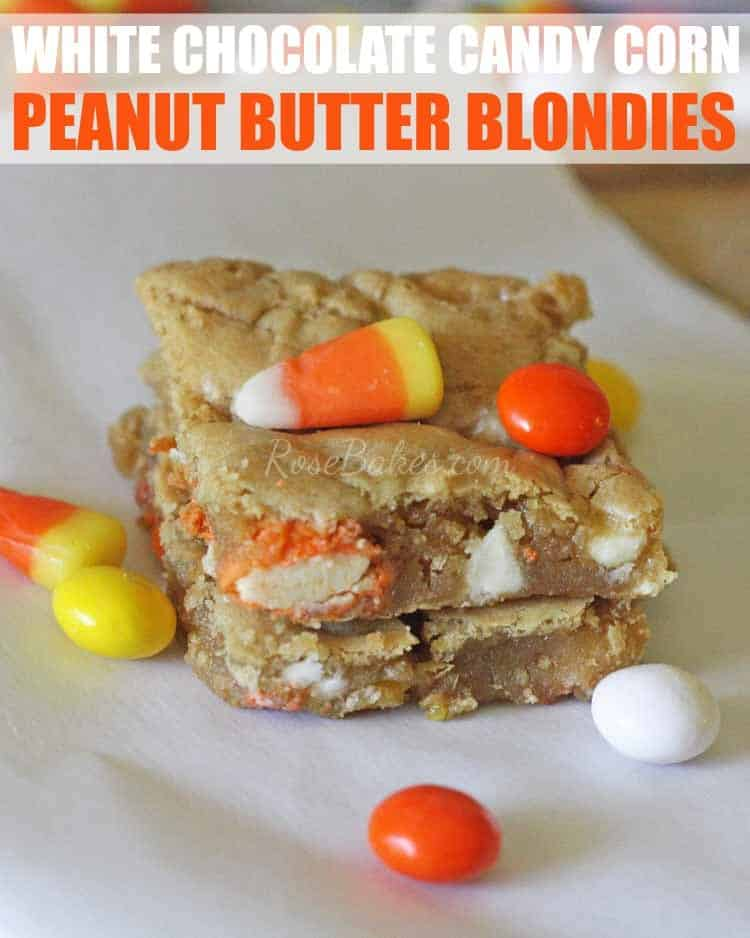 White Chocolate Candy Corn Peanut Butter Blondies by RoseBakes