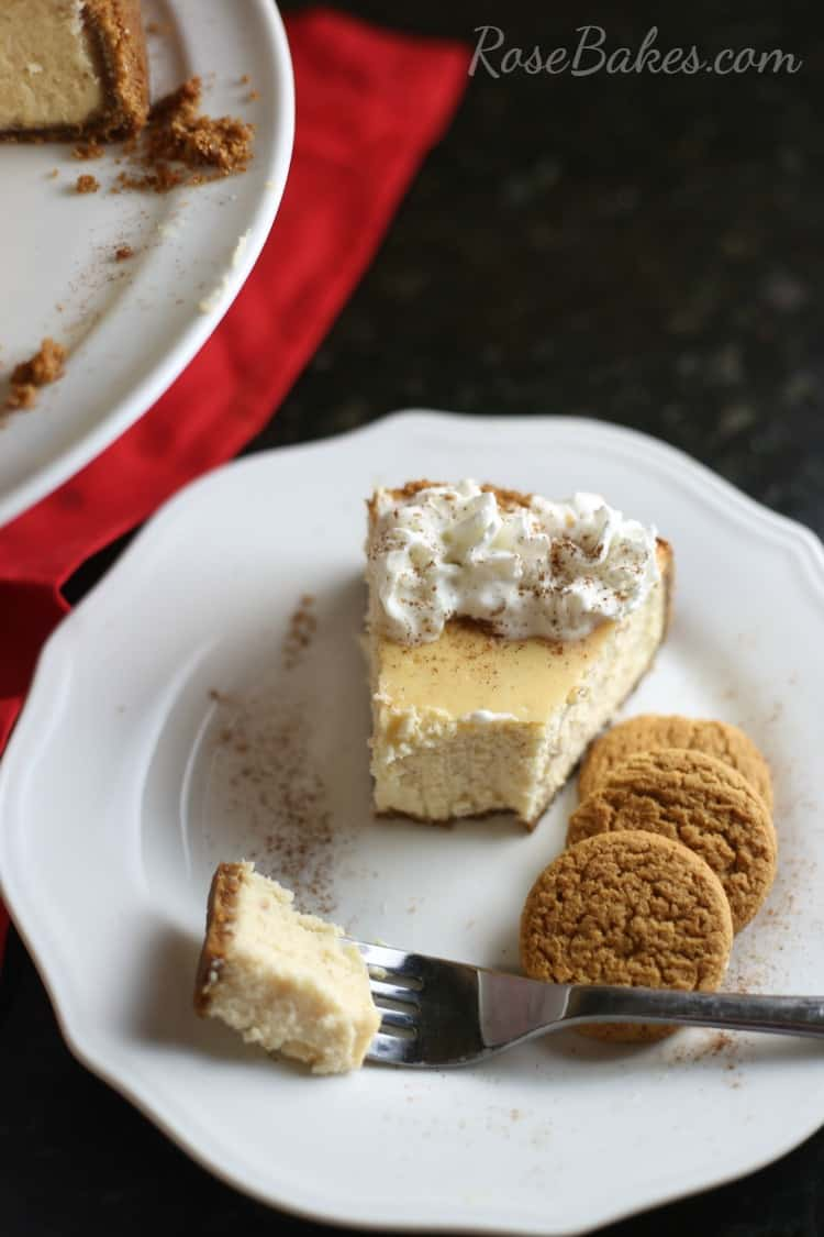Eggnog Cheesecake with Gingersnap Crust - Rose Bakes