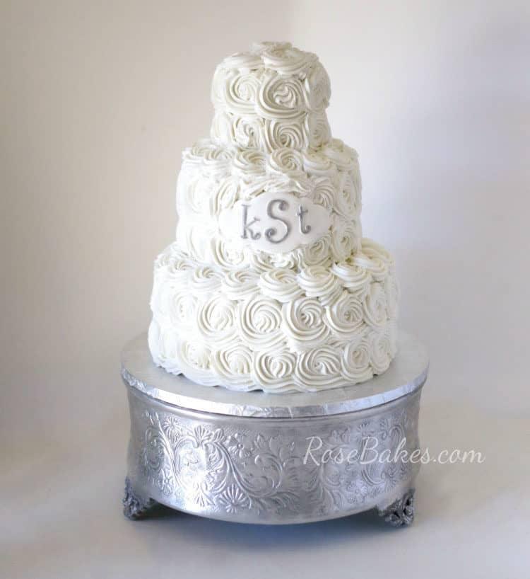White Buttercream Roses Wedding Cake with Monogram by Rose Bakes