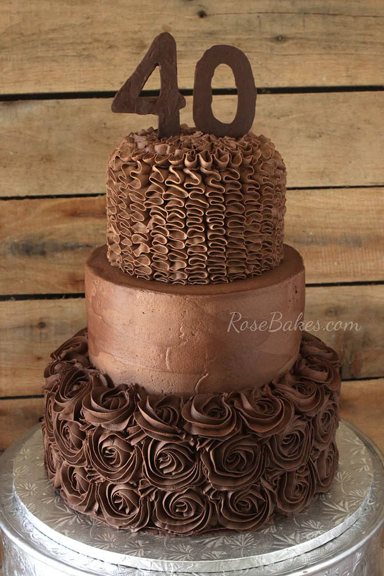 A Chocolate Chocolate 40th Birthday Cake.  Yes, it's double chocolate 😉  I couldn't think of a more creative name for this cake, so that one will have to do.  It's Day 8 of the Write 31 Days challenge and this post will be pretty short & sweet.