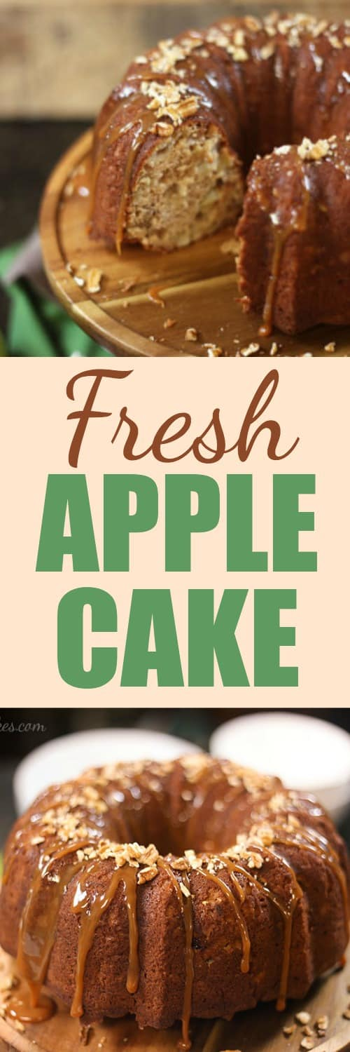 Fresh Apple Cake with Caramel & Pecans