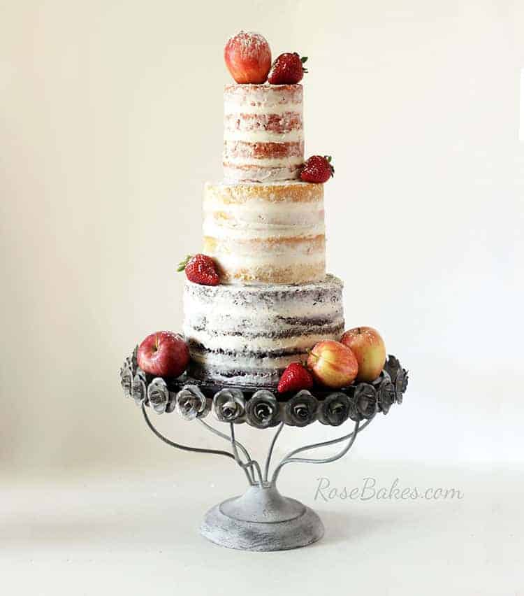 Rustic Naked Wedding Cake With Fresh Fruit (and How I