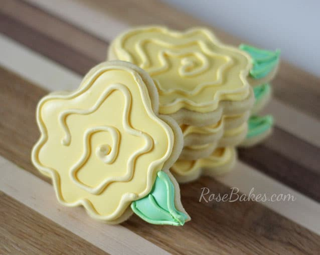 Yellow Rose Cookies by Rose Bakes