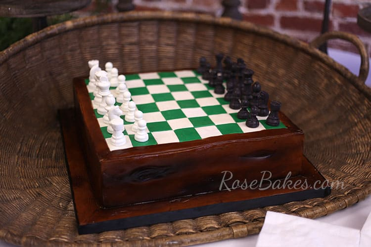 Chess Board Cake And Chess Piece Cookies Rose Bakes