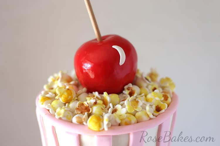 Fondant Popcorn and Candy Apple Cake Toppers