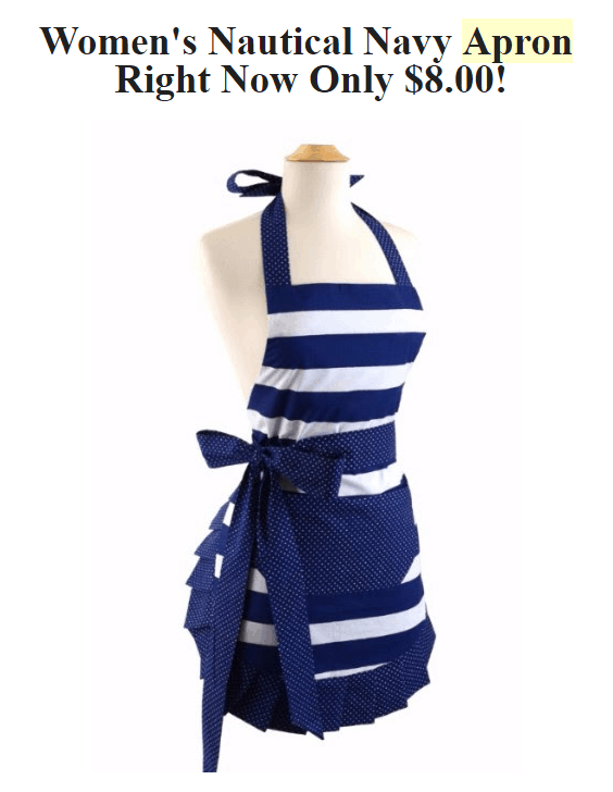 Nautical Navy Apron - Only $8