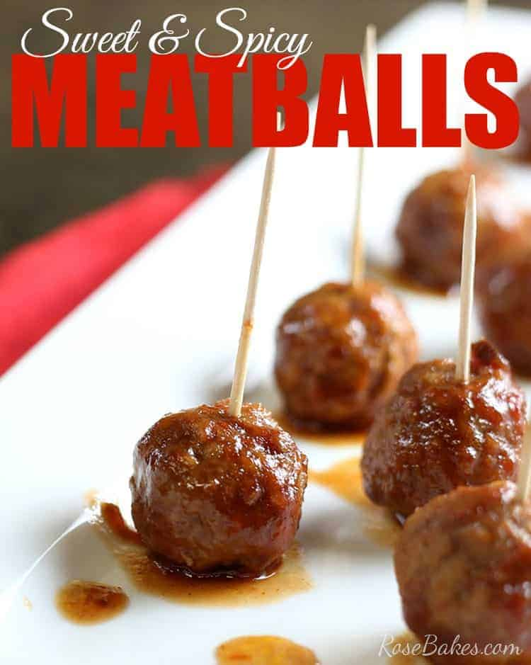 Easy 3 Ingredient Sweet & Spicy Meatballs by Rose Bakes