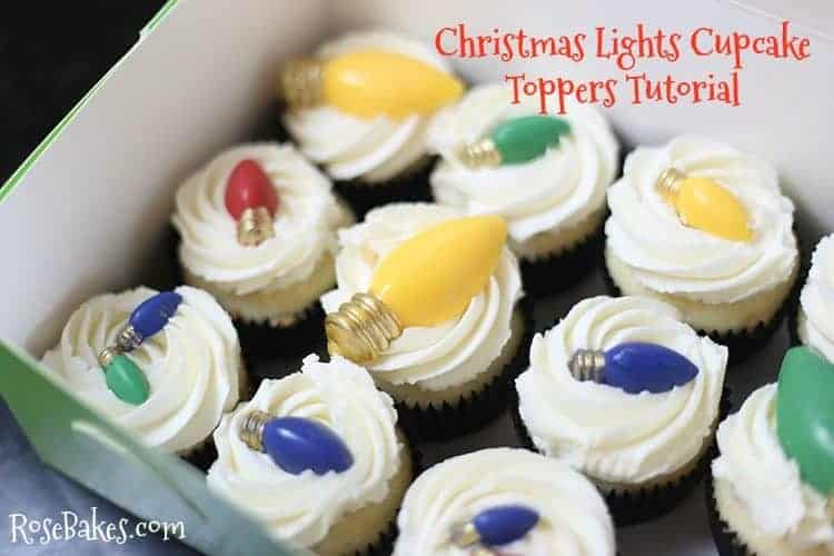 Christmas Lights Cupcake Toppers Tutorial by Rose Bakes