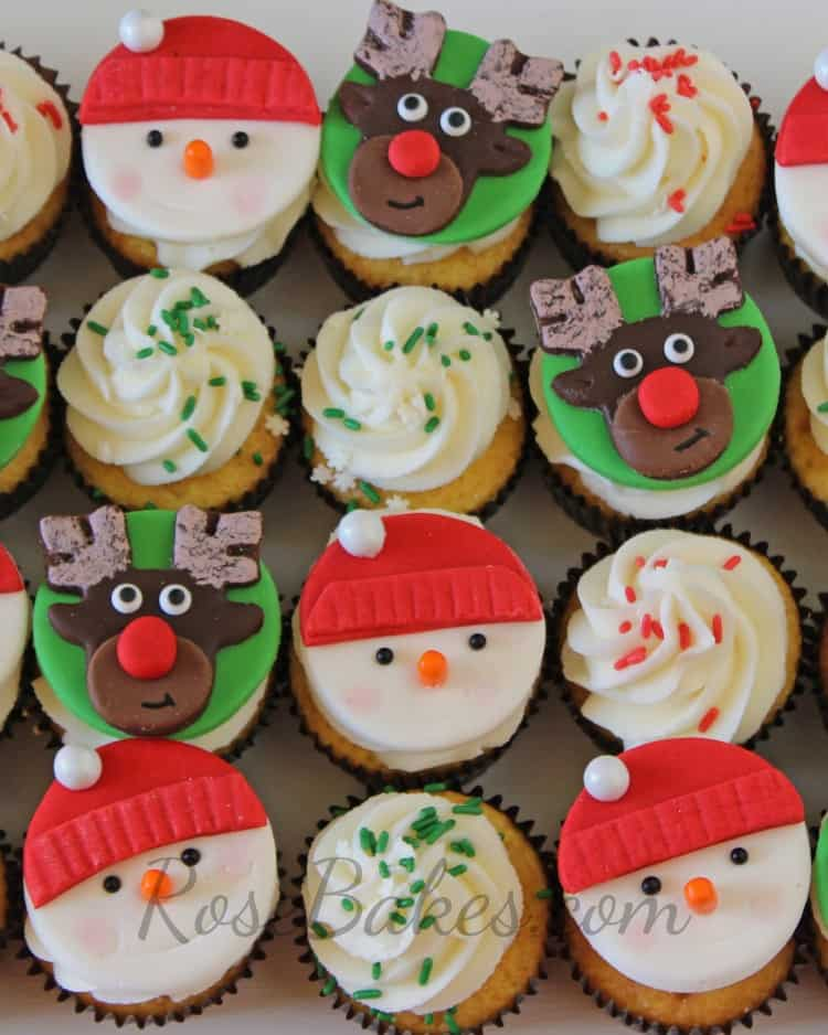 How to Make Christmas Cupcake Toppers : Santa, Rudolph, Snowmen, and more!