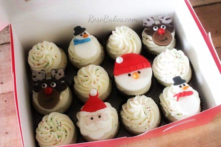 How to Make Christmas Cupcake Toppers : Santa, Rudolph, Snowmen, and more! | RoseBakes.com