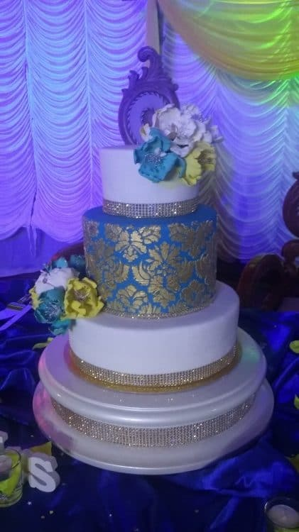 Gold Damask Wedding Cake