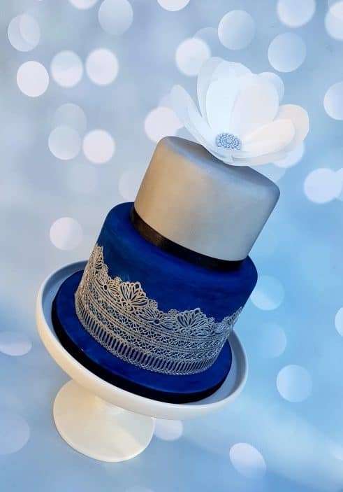 Dark Blue & Silver Birthday Cake