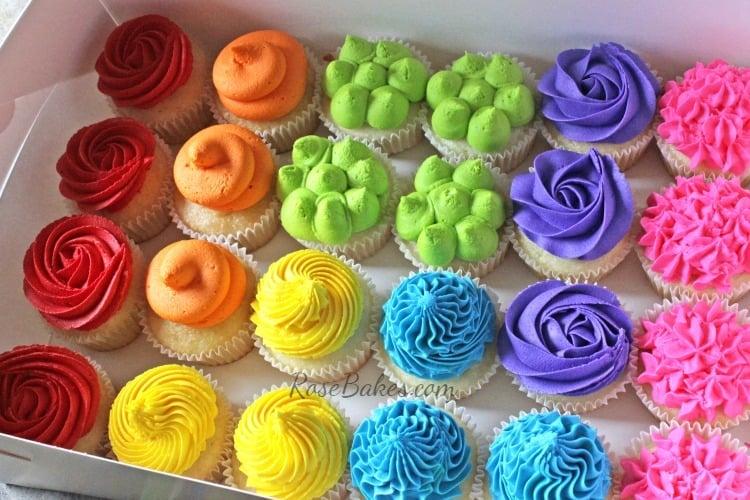 Boxed Rainbow Cupcakes