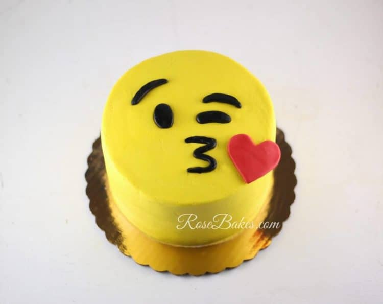 "One of my last cakes in December... a ""Face Throwing a Kiss"" Emoji Cake!!"