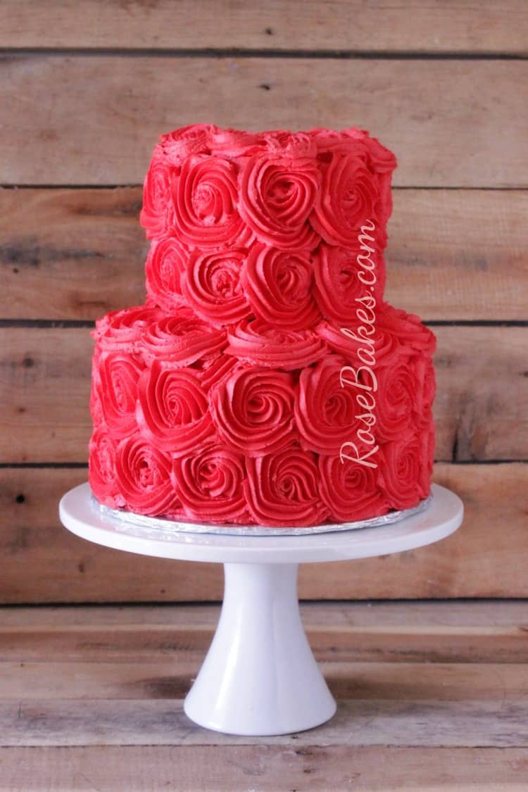 How to Get Bright Red Buttercream - 2 tiered cake with red rosettes