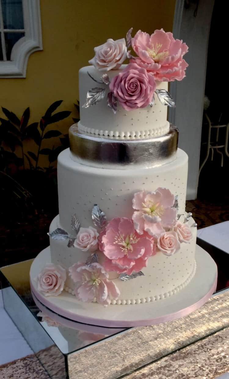 Blush & Silver Wedding Cake