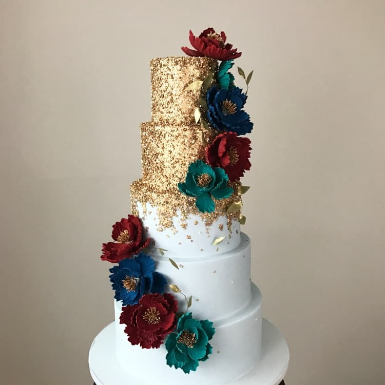 Gold Sequin & Ice Blue Cake