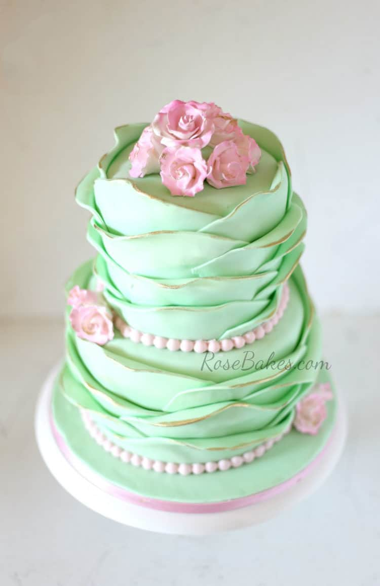 Mint Petals and Pink Roses Cake by RoseBakes.com  This shabby chic cake is perfect!!