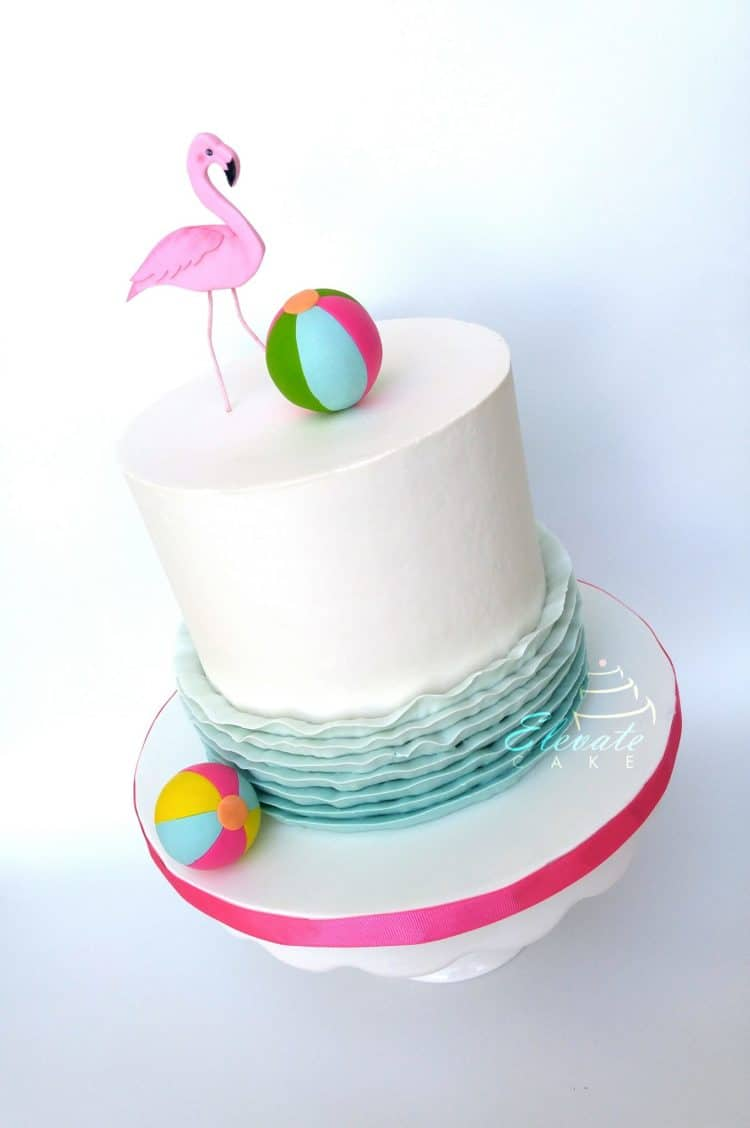 Flamingo Beach Ball Waves Cake