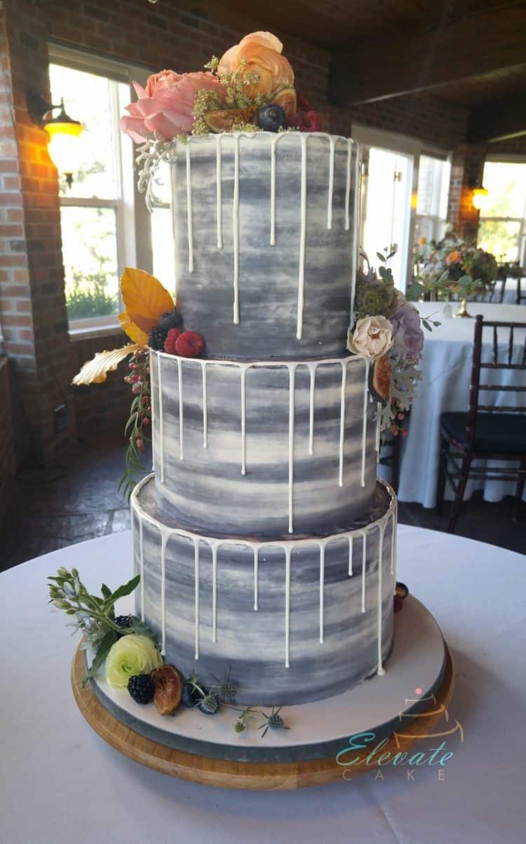 Gray Drip Cake with Fresh Flowers