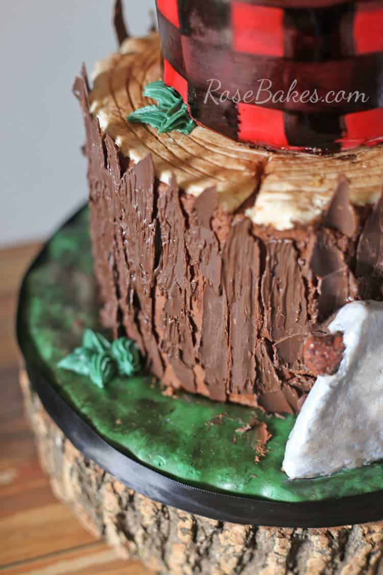 Lumberjack Tree Stump Cake with Chocolate Bark by Rose Bakes