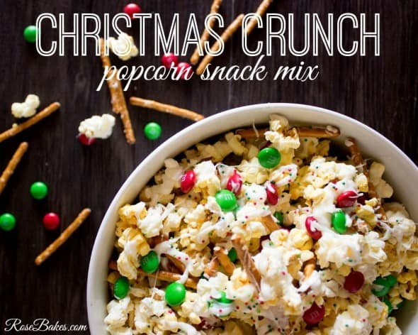 christmas crunch popcorn snack mix rose bakes