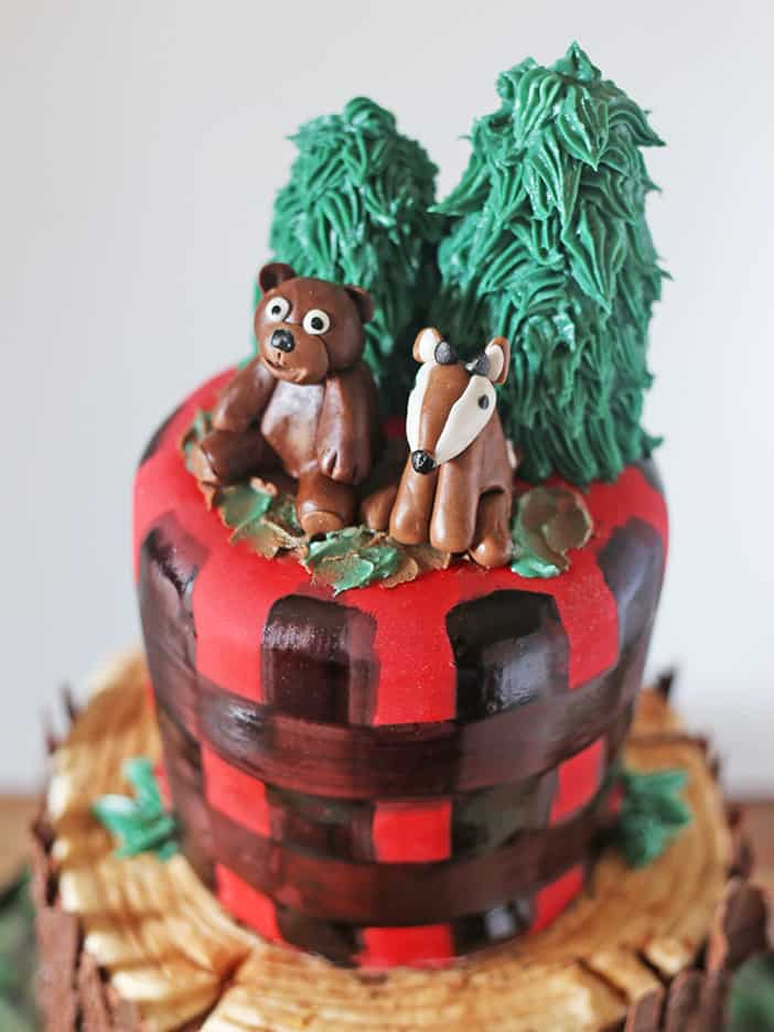 Lumberjack Tree Stump Cake Bear and Deer Toppers by Rose Bakes