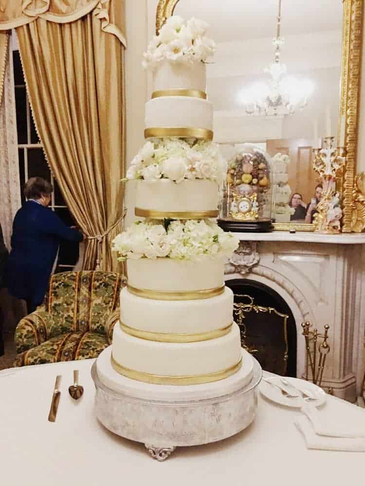 Gold & Flowers Wedding Cake - Rose Bakes