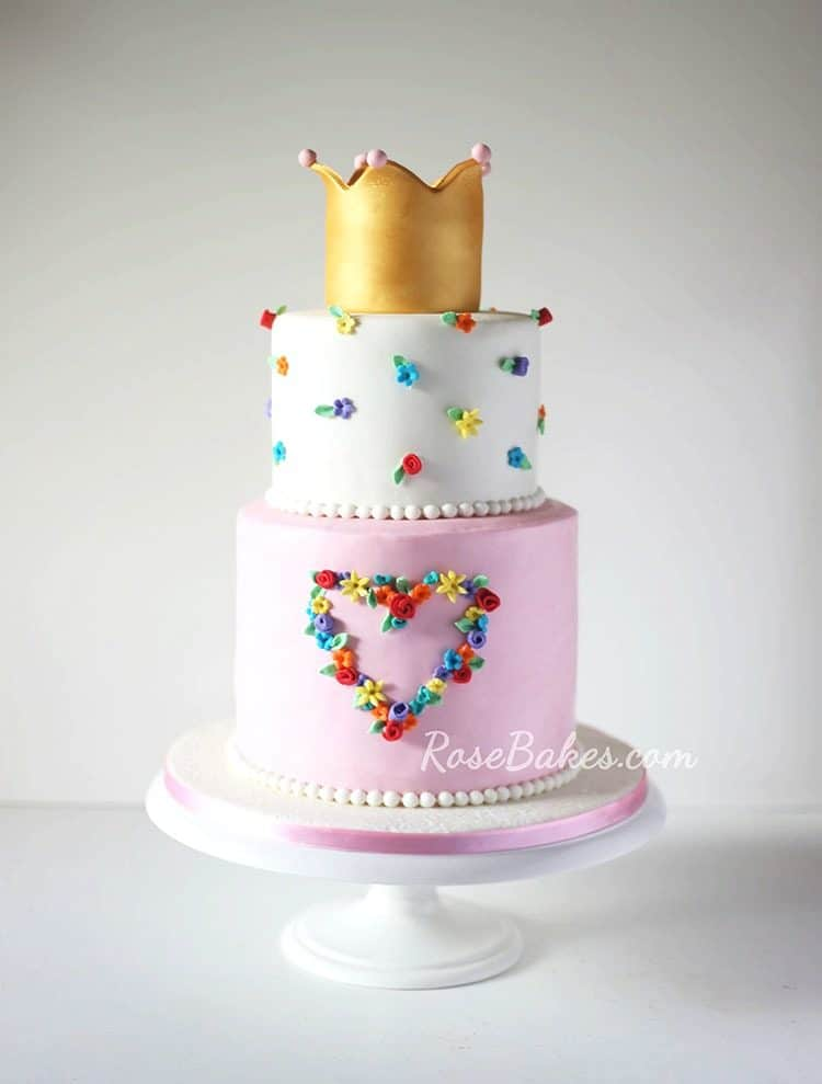 Floral Heart Princess Cake by RoseBakes - Perfect for a girly birthday party or Valentine's Day