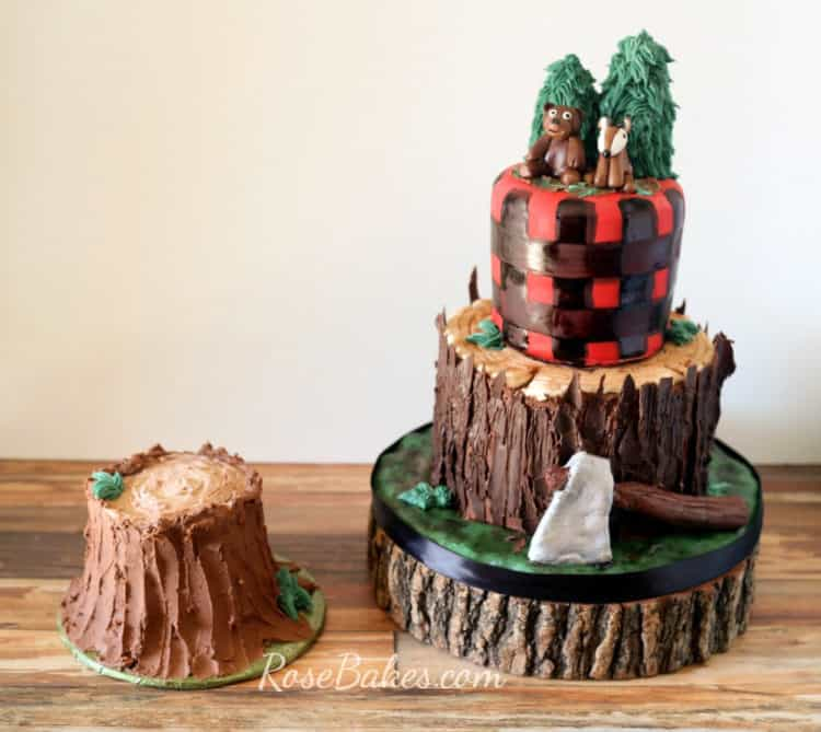 Lumberjack Tree Stump Cake and Tree Stump Smash Cake by Rose Bakes