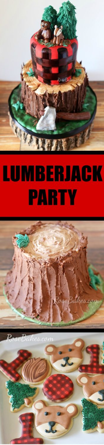Lumberjack Party Cake, Smash Cake and Cookies by Rose Bakes