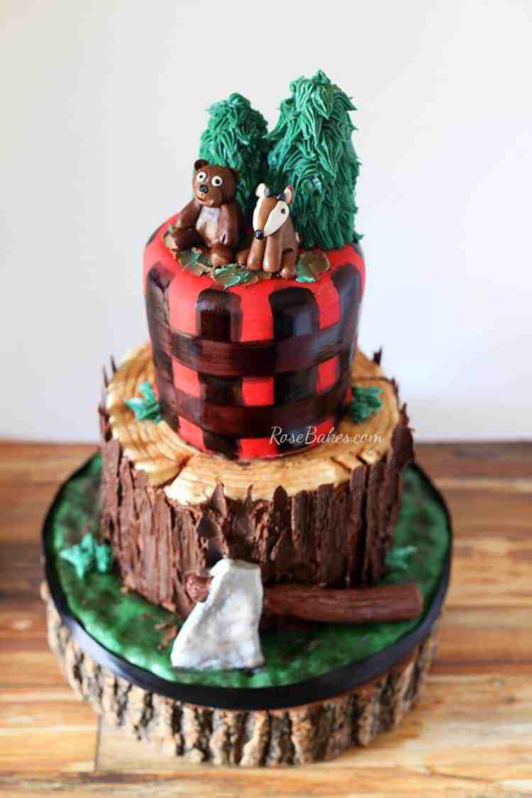 Lumberjack Tree Stump Cake by Rose Bakes