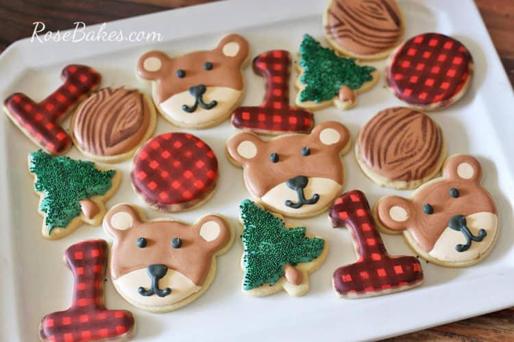 Lumberjack Plaid, Tree, Stump and Bear Cookies by Rose Bakes
