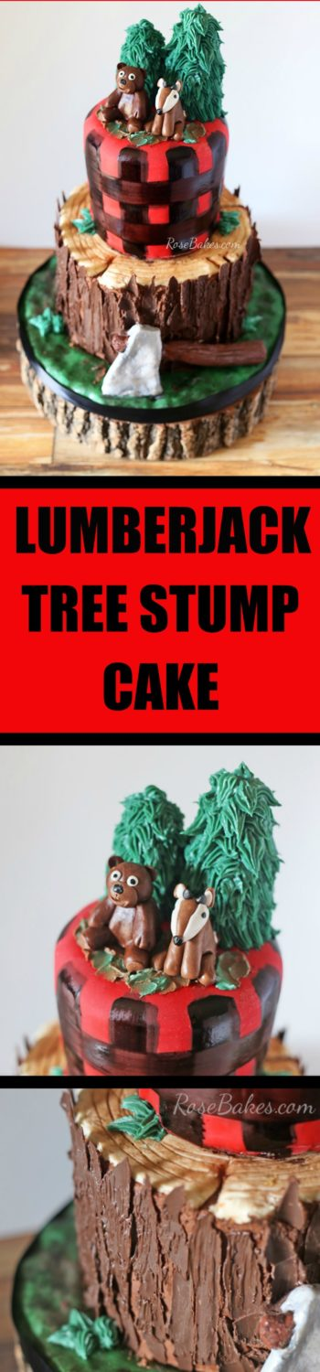 Lumberjack Tree Stump Cake, Smash Cake and Cookies by Rose Bakes