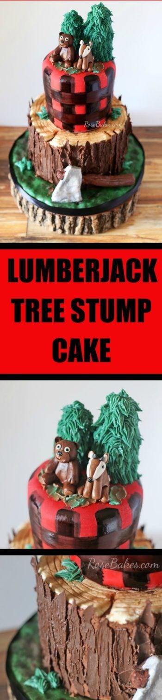 Lumberjack Tree Stump Cake, Smash Cake and Cookies by Rose Bakes