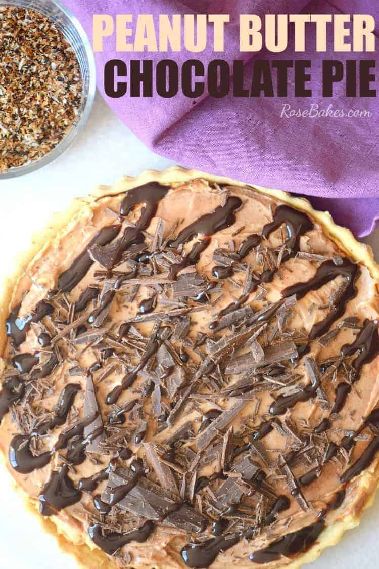 Peanut Butter Chocolate Pie topped with chocolate shavings